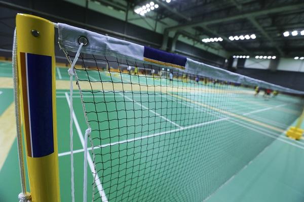 close-up of badminton net at indoor court
